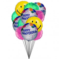 Ballons anniversaire Smiley (Ballons 6-Mylar & 6-Latex)
