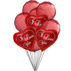Love You Balloon Bouquet (6 ballons en latex et 3-Mylar)