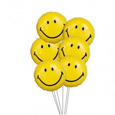 Smiley Balloon Bouquet (6 Ballons Mylar)