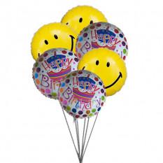 Ballons d'anniversaire Smiley bleus (6 Ballons Mylar)