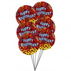 Ballons joyeux anniversaire avec la couleur de l'amour (6 ballons Mylar)
