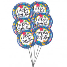 Ballons rosâtres disant joyeux anniversaire (6 ballons Mylar)