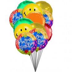 Ballons Smiley vous souhaitant joyeux anniversaire (6 Ballons Latex & 6-Mylar)