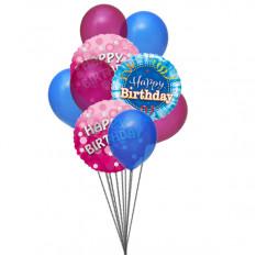 Bouquet de jolis ballons joyeux anniversaire (6 ballons en latex et 3-Mylar)
