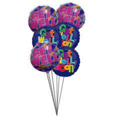 Bouquet de Get Well Soon Balloons (6 Ballons Mylar)