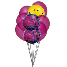 Bouquet de sourire avec Ballons Get Well Soon (Ballons 6-Latex & 3-Mylar)