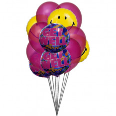 Bouquet de sourire avec Get Well Soon Balloons (6 Ballons Mylar & 6 Latex)