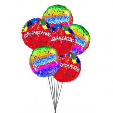 Félicitations avec des ballons (6 ballons Mylar)