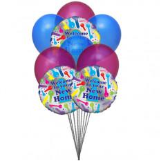 Maison heureuse (6 ballons latex et 3 ballons Mylar)