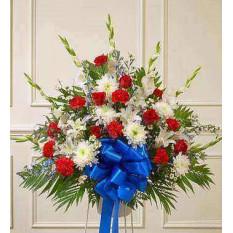 Rose rouge et bleu Sympathy Standing Basket