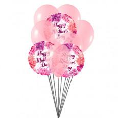 La fête des mères souhaite un bouquet de ballons (6 ballons en latex et 3-Mylar)