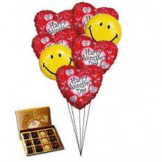 Smiley coeur ballons avec des chocolats