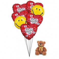 Ballons coeur heureux avec teddy