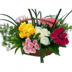 Panier de 60 roses multicolores