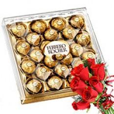 Ferrero Rocher avec Red Rose Bunch