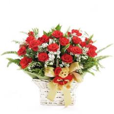 Panier des roses rouges 24 (petit)
