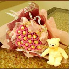 Bouquet et ours au chocolat