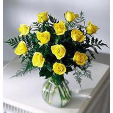 12 Vases Roses Jaunes