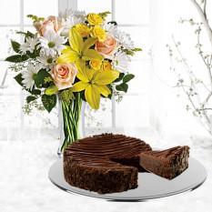 Marguerites et rayons de soleil avec un gâteau au brownie enrobé au chocolat triple