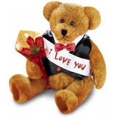 Message personnalisable ours avec des roses
