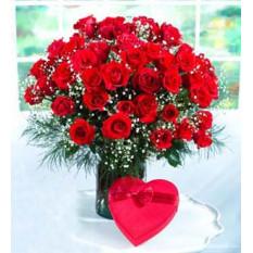 2 Dz Roses Rouges Avec Chocolat