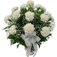 12 oeillets blancs en vase