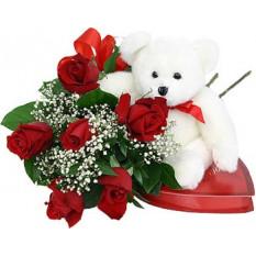 Roses rouges au chocolat et à l'ours