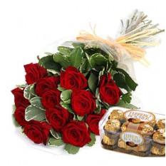 Roses rouges au chocolat Ferrero Rocher