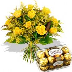 Roses jaunes avec du chocolat Ferrero Rocher