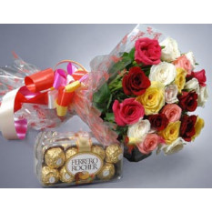 2 Dz Roses Mixtes Avec Ferrero Rocher Chocolat