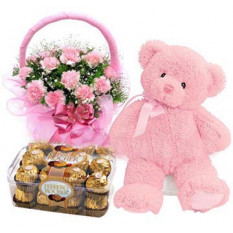 Teddy Bear With Carnation Basket Et Ferrero Rocher Chocolate