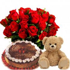 Cooper'S - Gâteau de la Forêt Noire avec Bare et 24 Roses