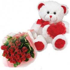 Ours en peluche avec 1 Dz Roses rouges et coeur rouge