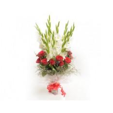 Gladiolus Aux Roses Rouges Dans Un Bouquet