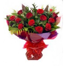 Jamdani Silk Sharee - 1 dz roses rouges en bouquet