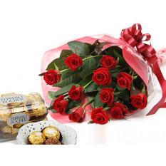Sélectionnez les roses et le chocolat