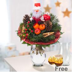 Bouquet du Père Noël avec vase et 2 Ferrero Rocher