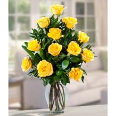 Douzaine de roses jaunes