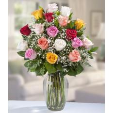 18 roses assorties