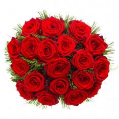 18 roses rouges Premium