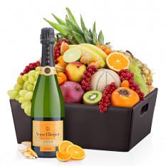 Panier de fruits exotiques en cuir et Veuve Clicquot