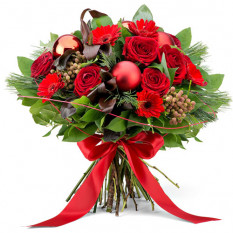 Bouquet festif rouge - Grand (35 cm)