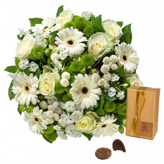 Bouquet blanc et chocolats Godiva, 200g
