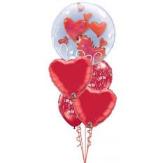 Je t'aime Coeurs Double Bubble Bouquet