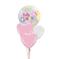 Bouquet de bulles et de coeurs pour bébé fille