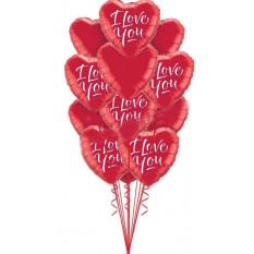 Je t'aime douze ballons à coeur rouge