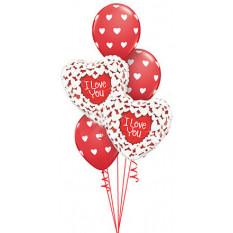 Bouquet d'amour coeurs rouges et blancs
