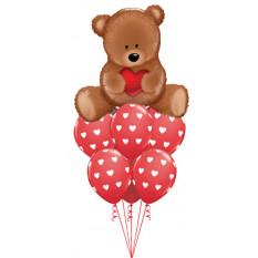 Bouquet de ballon d'amour nounours