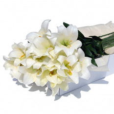 Flower Box White Lilies 12 pcs