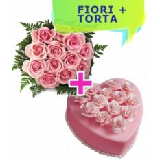 Envoyer Heart Cake & Home Roses (Small)